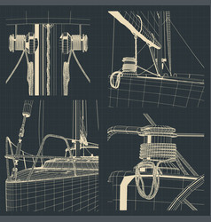 Drawings bow and winch sailing yacht vector
