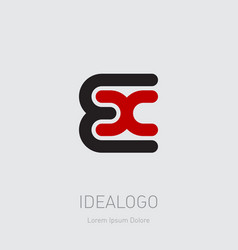 e and x initial logo ex initial monogram logotype vector image