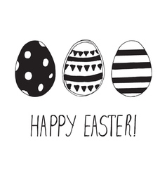 Easter greeting card with easter eggs doodles vector