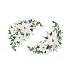elegant winter season half moon wreath bouquet vector image