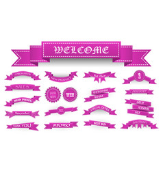 Embroidered pink vintage ribbons and stumps with vector