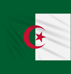 Flag algeria swaying in the wind realistic vector