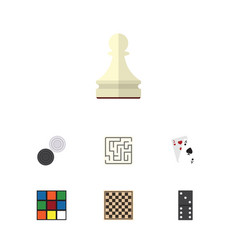 Flat icon play set of ace chequer bones game and vector