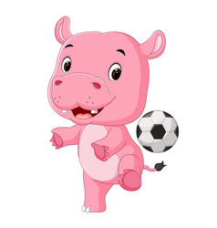 funny hippo playing soccer vector image