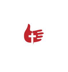 God hand with cross logo design vector