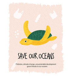 graphic eco poster with sea turtle vector image