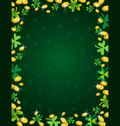 green patricks day background with frame of vector image