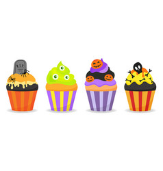halloween decorated cupcakes with spiders vector image