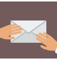 Hand Holding Envelope Flat style vector image
