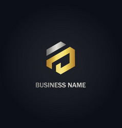 Hexagon shape line company gold logo vector