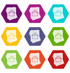 house blueprint icon set color hexahedron vector image