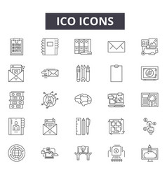 Ico concept line icons signs set linear vector
