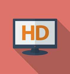 Icon of HD TV Flat style vector image