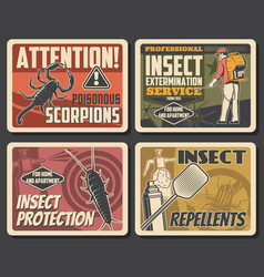 Insects extermination service pest control posters vector