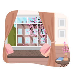 Interior stylish room with comfortable couch vector