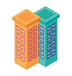 Isometric set of adjacent tall buildings - vector