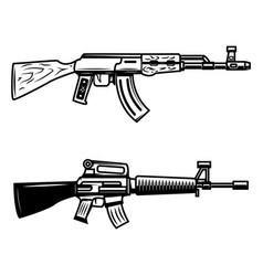 Kalashnikov m16 automatic rifle design element vector