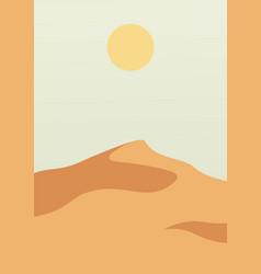 Landscape poster with desert sand hills nature vector