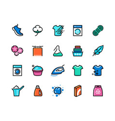 Laundry line icons machine and hand wash sport vector