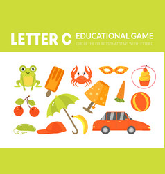 letter c educational game for kids template vector image