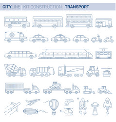 line set city vehicles vector image