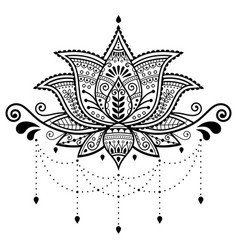 Lotus flower design indian pattern vector
