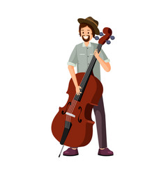 Male cello player flat vector