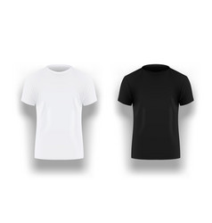 Mens black and white t-shirt with short sleeve vector