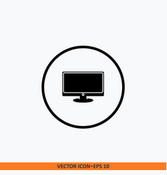 monitor icon round button icon for your website vector image