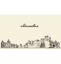 Mumbai skyline drawn sketch vector