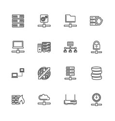 Network servers - flat line icons vector