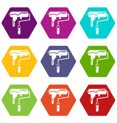 paint roller icons set 9 vector image