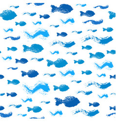 Painted fish waves pattern background vector