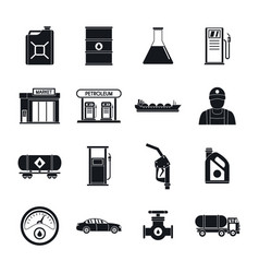 Petrol station gas fuel icons set simple style vector
