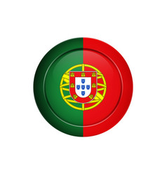 Portuguese flag on the round button vector
