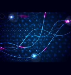 Retro neon 80s shiny wavy lines abstract vector