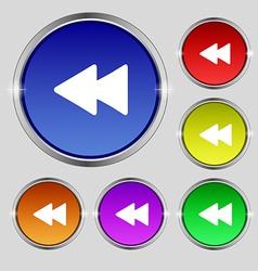 Rewind icon sign Round symbol on bright colourful vector