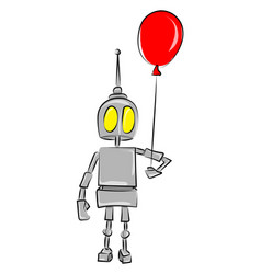 robot holding a balloon on white background vector image
