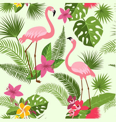 Seamless pattern with flamingo tropical vector