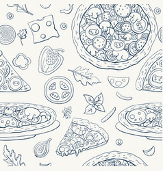 seamless pattern with pizza and vegetables on a vector image