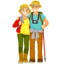 senior travellers vector image