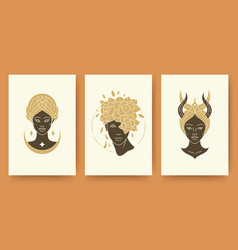 set abstract female portraits silhouettes vector image