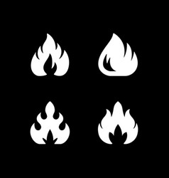 set glyph icons fire or flame vector image