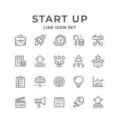 Set line icons start up vector