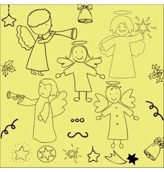 Set of christmas angels and stars vector