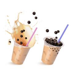Set with tapioca drinks vector