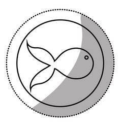 Silhouette emblem fish icon vector