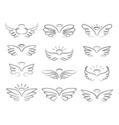 sketch angel wings in cartoon style vector image