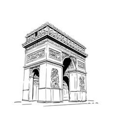 sketch arc de triomphe in paris france hand vector image