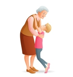Smiling grandmother hugging her granddaughter vector image
